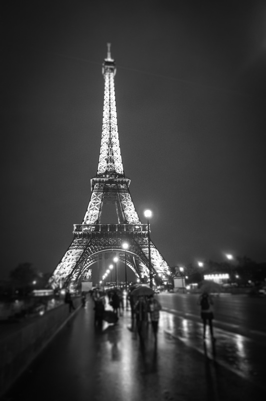 Black and white street photography with tilt-shift effect from Eiffel Tower in Paris by Kimmo Savolainen Photography.