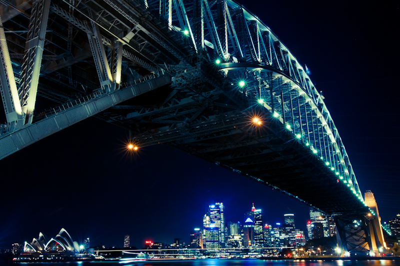 Sydney cityscape from Australia. Urban long exposure night photography. Sydney Opera House, Harbour Bridge and City lights