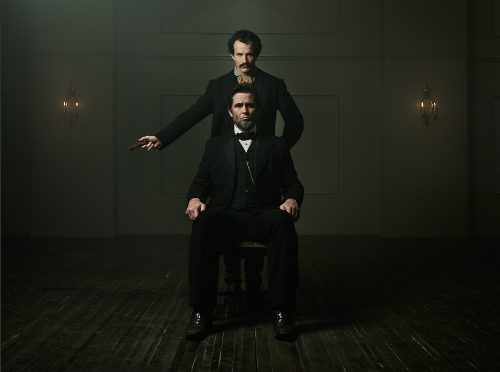 Killing Lincoln - Jesse Johnson as John Wilkes Booth and Billy Campbell as Abraham Lincoln.