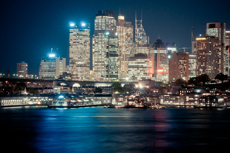 City view from Sydney, Australia. Sydney CBD during night with long exposure and colour. Cityscape photography by photographer Kimmo Savolainen.